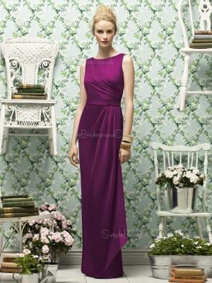 Natural Chiffon Floor-length Purple Zipper-Back Scoop Sleeveless Sash-Ruched-Ruffles Column-Shea ...