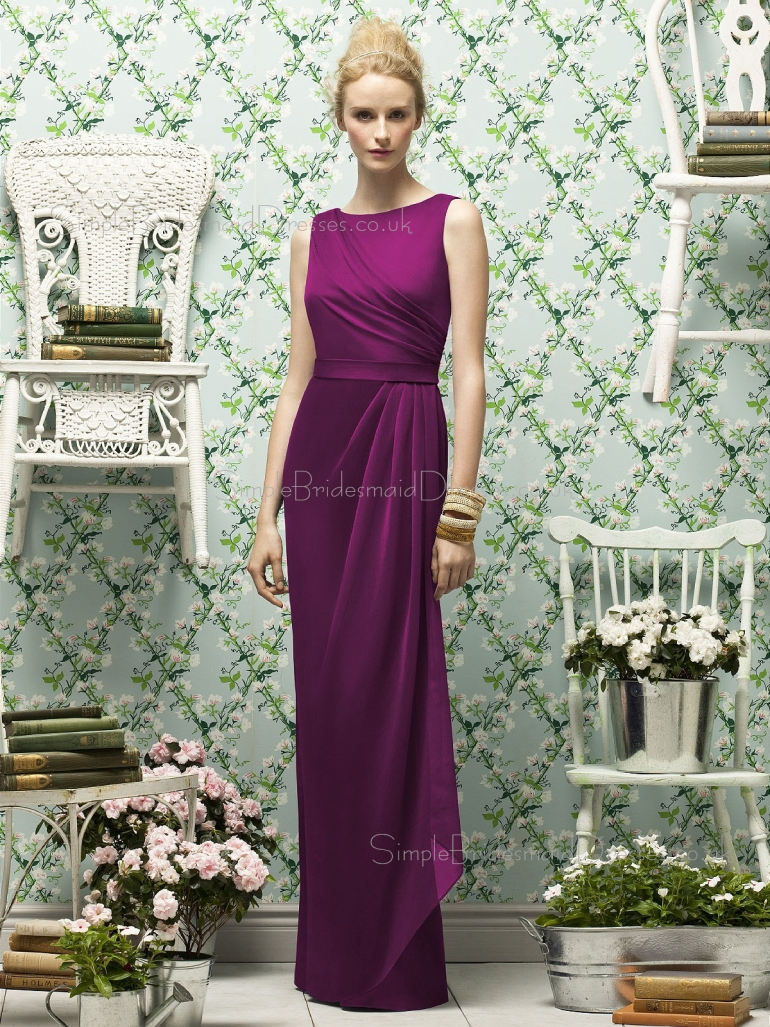 Natural Chiffon Floor-length Purple Zipper-Back Scoop Sleeveless Sash-Ruched-Ruffles Column-Shea ...