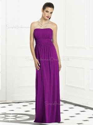 Column-Sheath Bateau Purple Sash-Ruched-Ruffles Empire Backless-Zipper-Back Sleeveless Floor-len ...