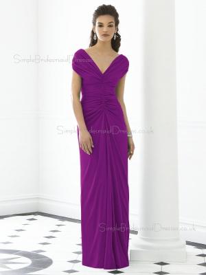 Short-Sleeve Ruched-Ruffles V-neck Purple Empire Zipper-Back Column-Sheath Floor-length Chiffon  ...