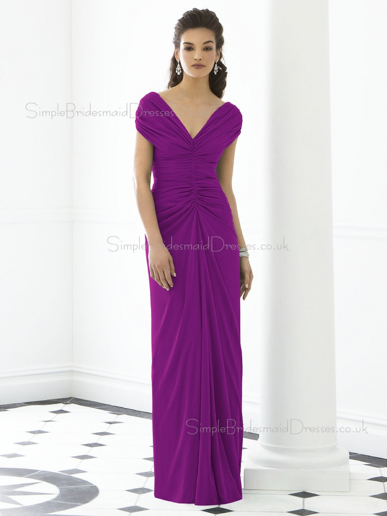 Short-Sleeve Ruched-Ruffles V-neck Purple Empire Zipper-Back Column-Sheath Floor-length Chiffon  ...