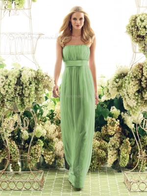 Floor-length Green Empire Draped/Ruffles/Sash Sleeveless Bridesmaid Dress