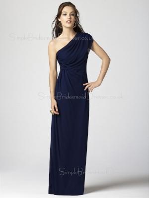 Sheath Zipper Dark-Navy Chiffon One-Shoulder Bridesmaid Dress
