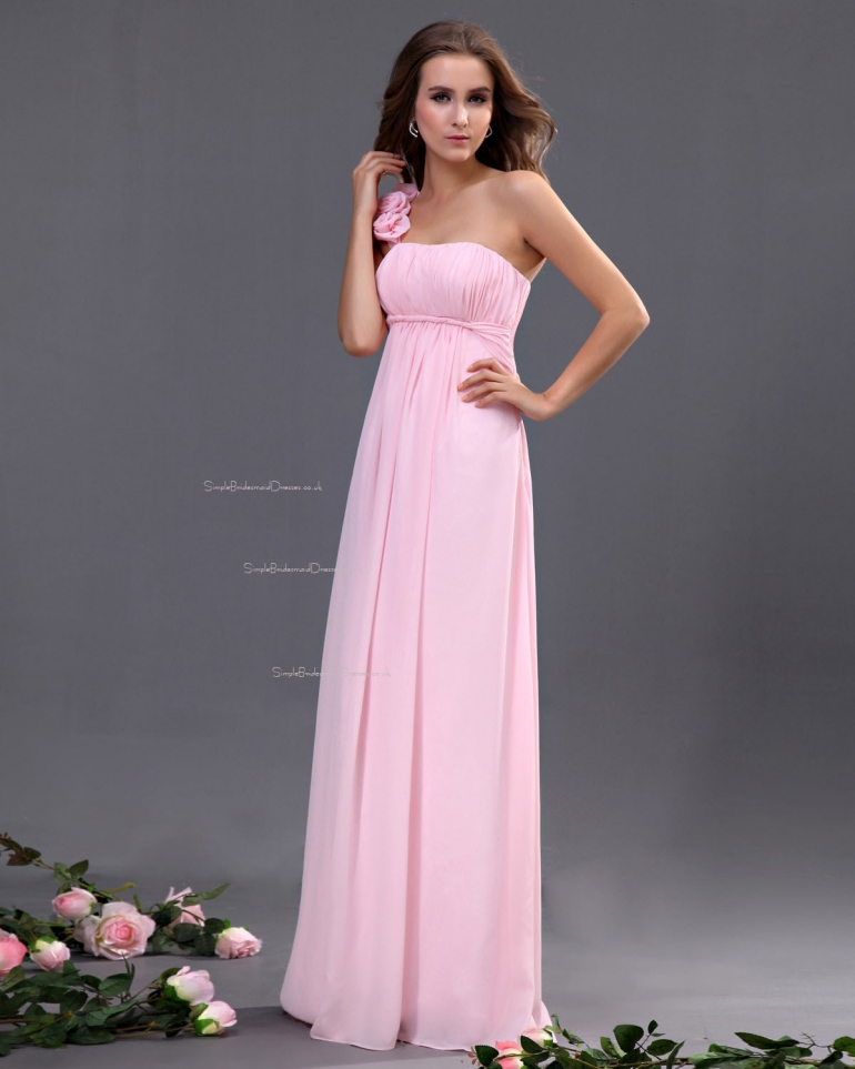 One-Shoulder Ruffles/Flowers/Draped A-line Zipper Chiffon Sleeveless Natural Floor-length Pink B ...