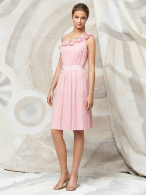Sleeveless Chiffon Draped/Flowers/Ruffles One-Shoulder Zipper Bridesmaid Dress