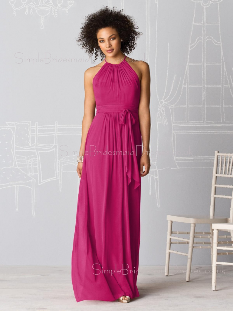 Zipper Draped/Ruffles Sleeveless Fuchsia Floor-length Bridesmaid Dress