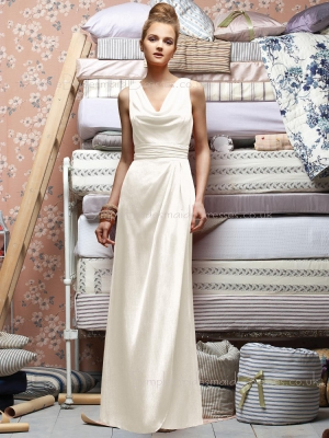 Zipper Draped/Ruffles A-line Natural White Bridesmaid Dress