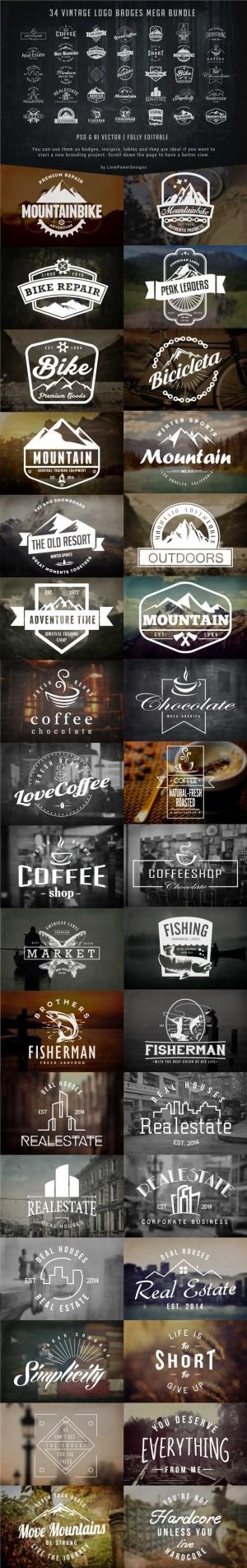 Vintage Logo Badges Bundle ~ Logo Templates on Creative Market