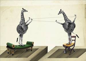 Collage of giraffes playing