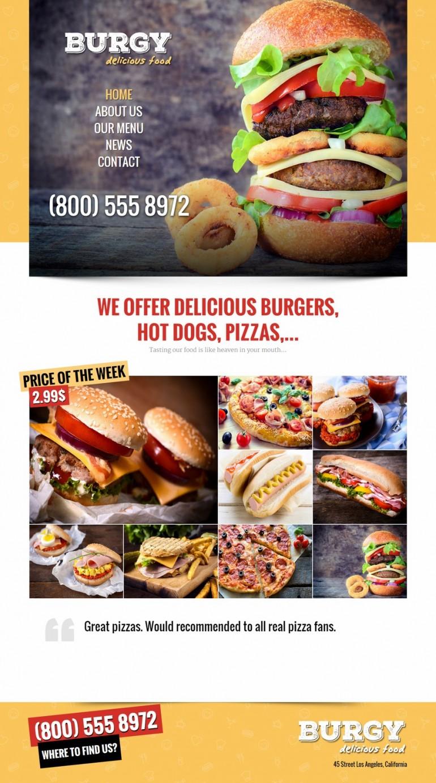 BURGY – Fast Food, Burgers, Pizzas, Salads
