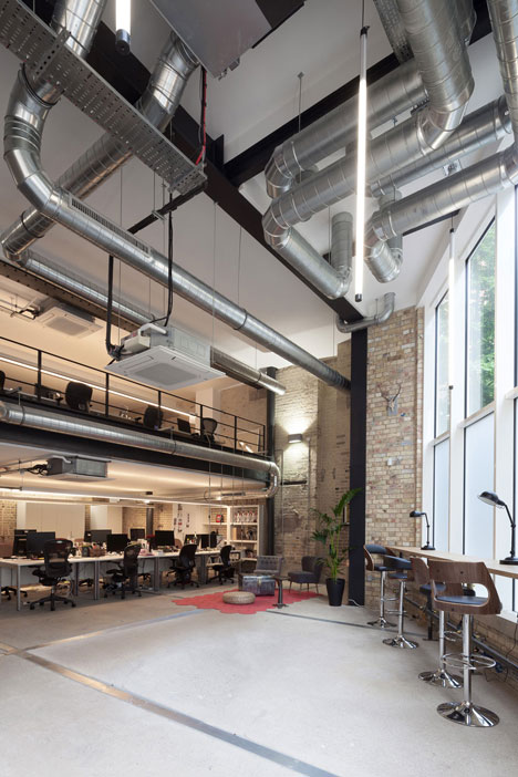 Industrial-style offices mix reclaimed objects with minimal aesthetic