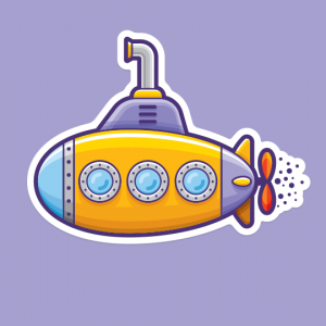 Illustration of a toylike submarine.