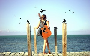 Beach Girl with Guitar – Photography Wallpapers