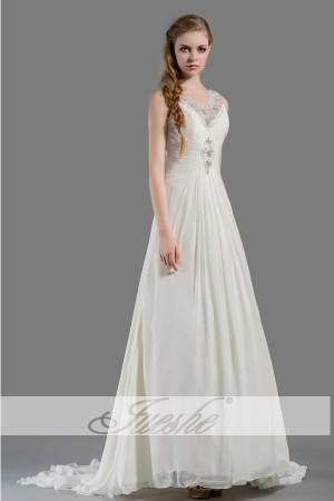 2014 Simple Beach V neck Chiffon Empire Wedding Dress under 200 with Appliques