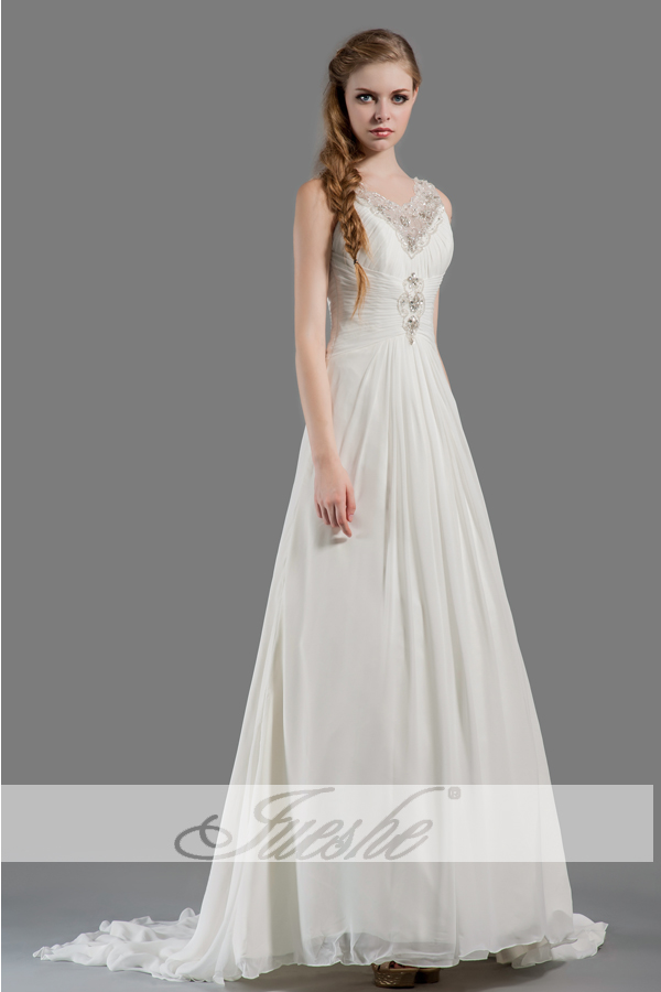 2014 Simple Beach V neck Chiffon Empire Wedding Dress under 200 with Appliques