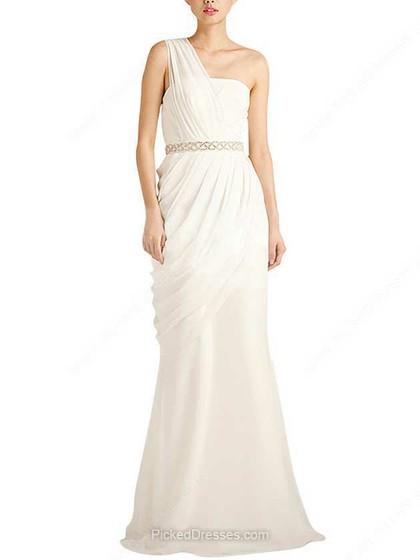 Chiffon Trumpet/Mermaid One Shoulder Floor-length Beading Wedding Dresses