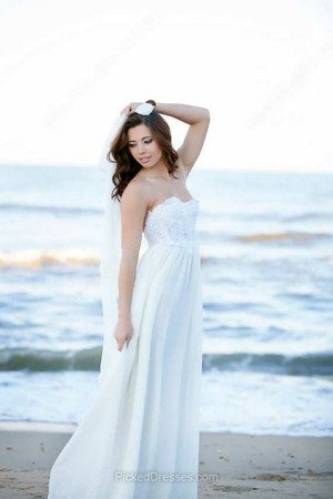 Lace Chiffon A-line Sweetheart Sweep Train Beading Wedding Dresses