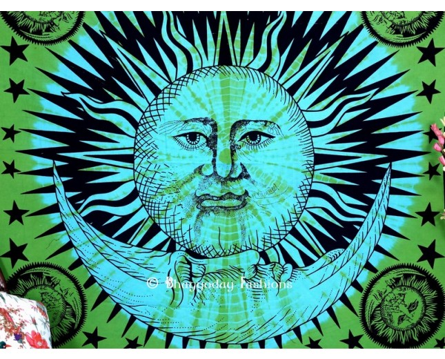 Celestial Green Sun Moon Stars Indian Tapestry for Living Room