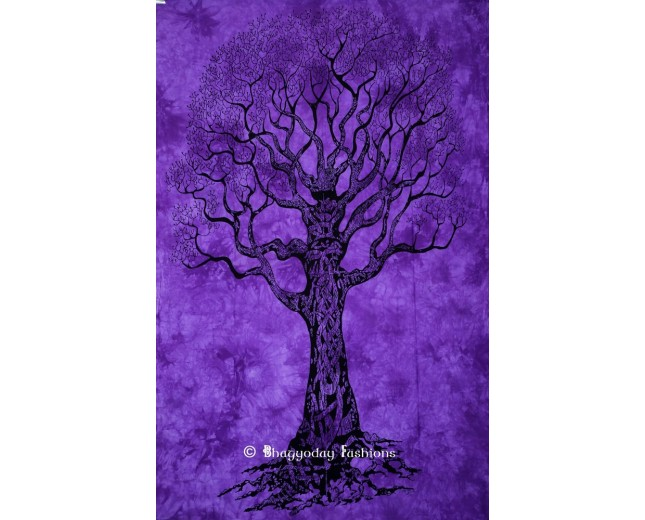 High Quality Purple Hippie Tree of Life Tapestry in Tie and Dye Print