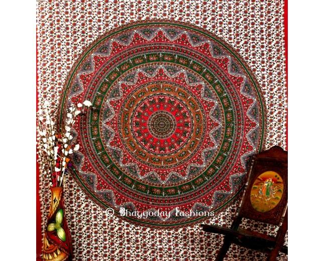 Colorful Round Mandala Boho Tapestry