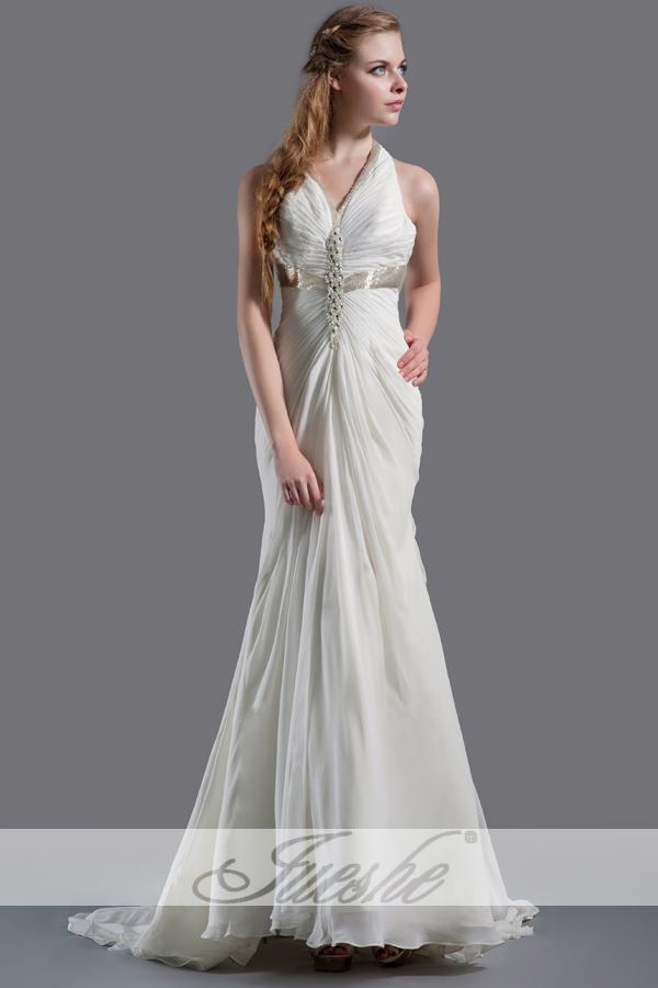 Cheap Casual Halter Chiffon Empire Wedding Dress