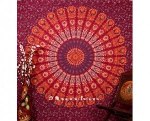 Maroon Mor Pankh Print Bohemian Tapestry