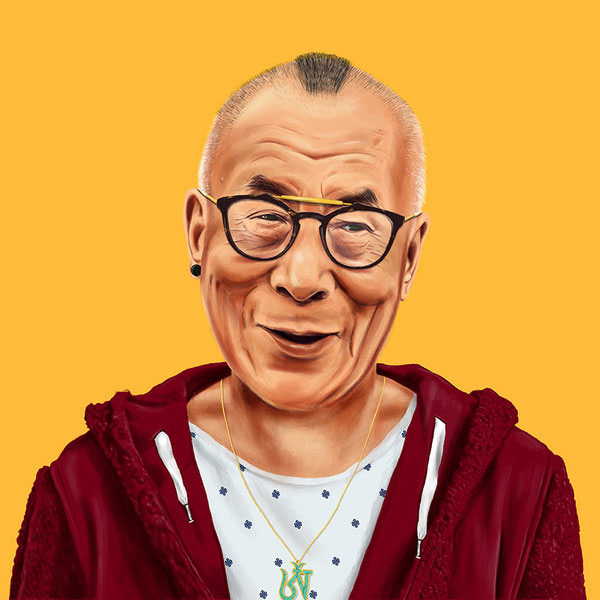 Dalaï Lama hipster by Amit Shimoni