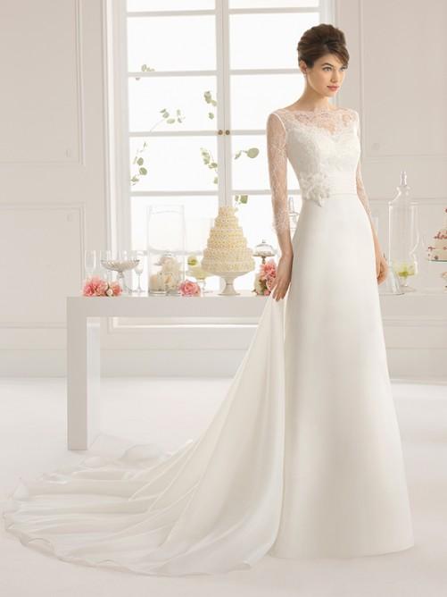 A-Line/Princess 3/4 Sleeves Court Train Satin Bateau Ruffles Wedding Dresses