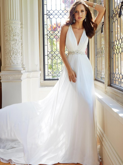 A-Line/Princess Sleeveless V-neck Chiffon Ruffles Court Train Wedding Dresses