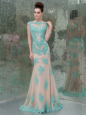 Sheath/Column Short Sleeves Bateau Applique Floor-Length Tulle Dresses