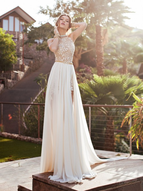 A-line/Princess High Neck Applique Chapel Train Chiffon Wedding Dresses