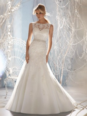 Trumpet/Mermaid Scoop Sweep/Brush Train Organza Applique Wedding Dresses