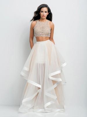 A-Line/Princess Scoop Sleeveless Beading Floor-Length Organza Dresses