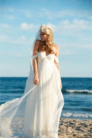 A-line Floor-length Chiffon Ruffles Off-the-shoulder Wedding Dresses