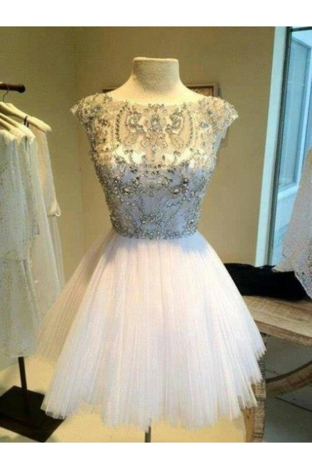 Shop 2015 A-line White Tulle Jewel Cocktail Dress NZ Online – Shopindress.co.nz
