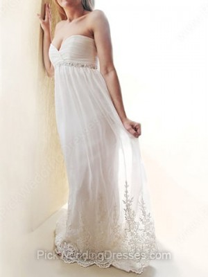 Empire Floor-length Lace Chiffon Beading Sweetheart Wedding Dresses