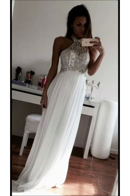 Shop Halter Floor-length White Formal Dress NZ Online – Shopindress.co.nz