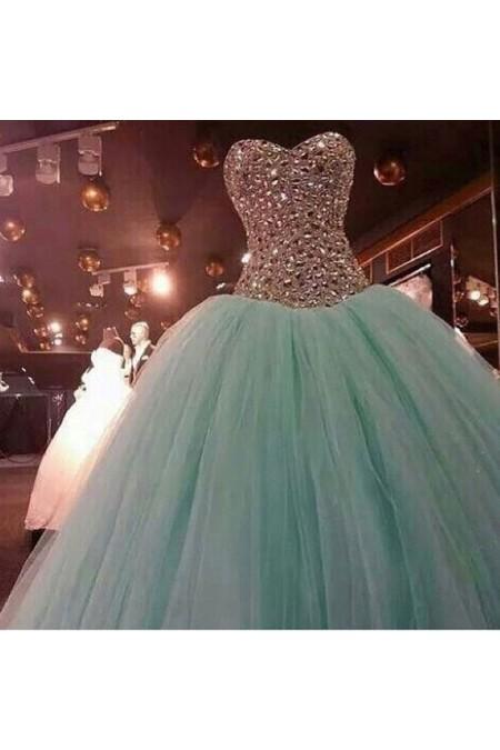 Shop Mint Ball Gown Rhinestone Organza Prom Dress NZ Online – Shopindress.co.nz