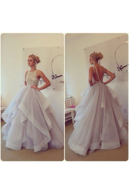 Shop Organza Floor-length Natural Sleeveless Prom Dress NZ Online – Shopindress.co.nz