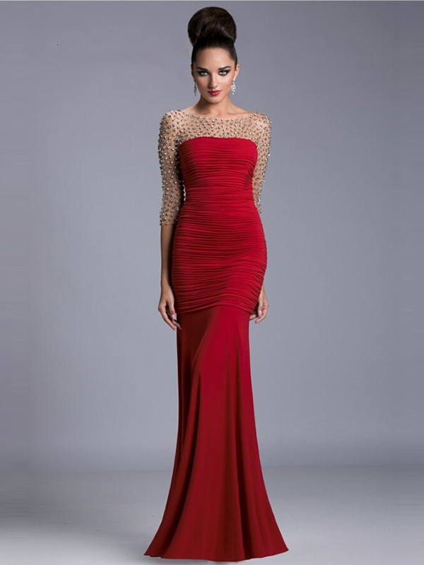 Trumpet/Mermaid Scoop 3/4 Sleeves Floor-Length Satin Beading Dresses