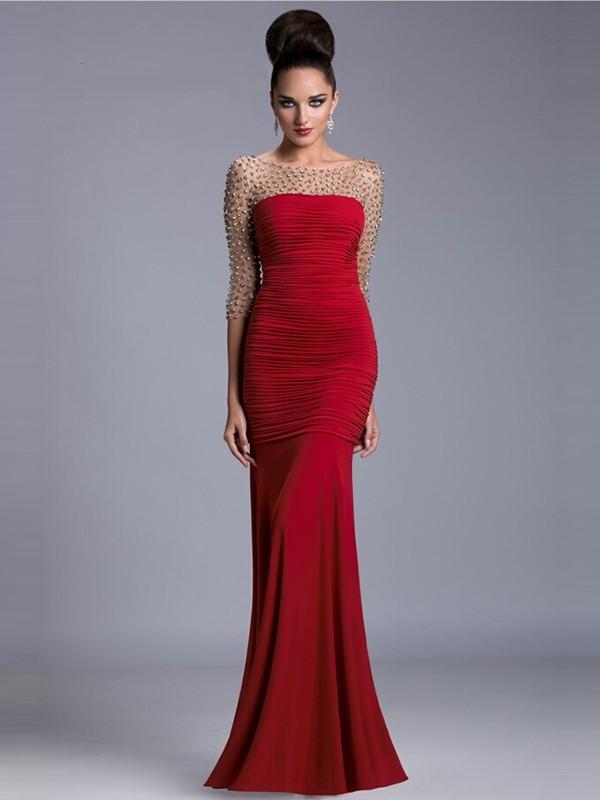 Trumpet/Mermaid Scoop 3/4 Sleeves Floor-Length Satin Beading Dresses