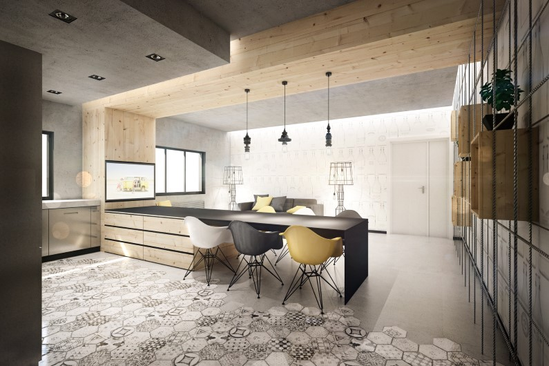 Wireframe apartment: interiors with industrial tones / BrainFactory
