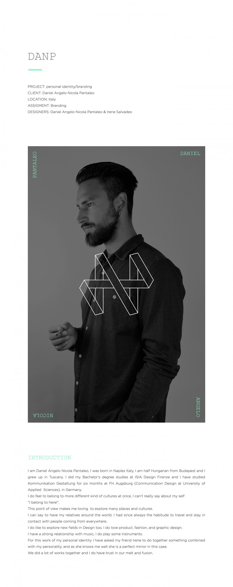 Daniel Angelo Nicola Pantaleo – Personal identity / Branding