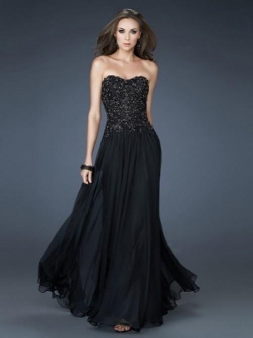 A-Linie Herzausschnitt Bodenlang Chiffon Applikationen Abendkleid Ballkleid – VickyDress