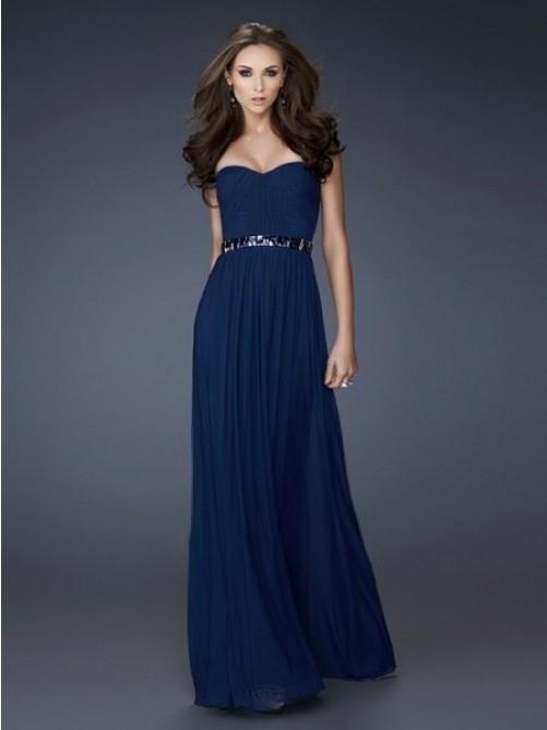 A-Linie Herzausschnitt Bodenlang Chiffon Strasssteine Abendkleid – VickyDress
