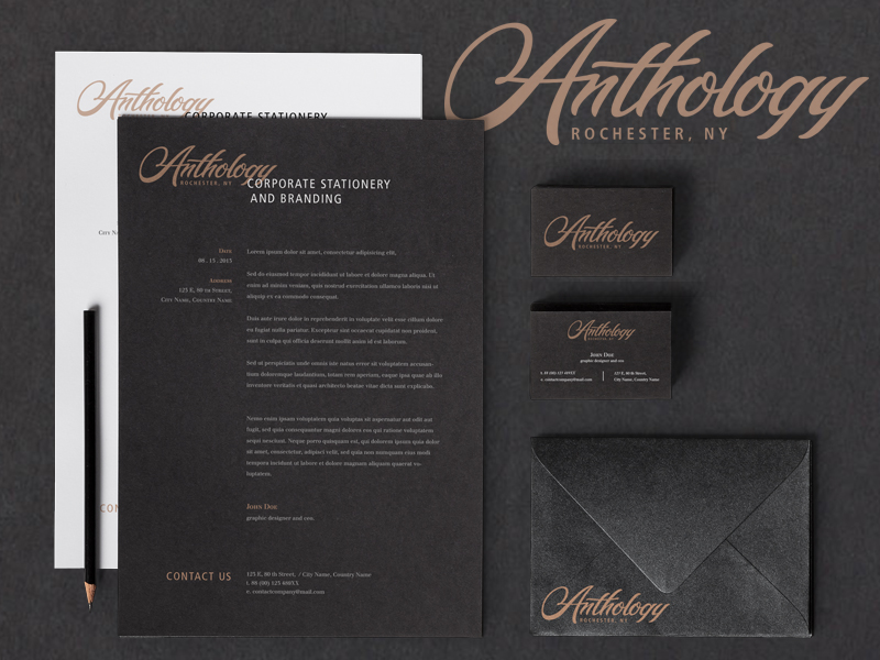 Anthology hand drawn typography logo and branding stationery by Jenna Bresnahan
