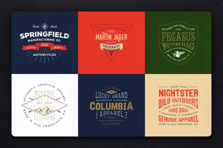 This pack includes 12 unique carefully crafted vintage style logos. Very easy to modify and use, ...
