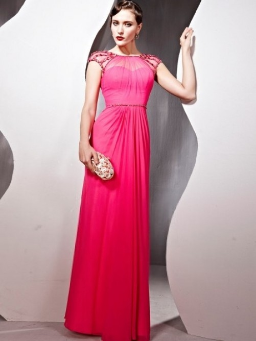 Etui-Linie Ärmellos Bodenlang Perlen verziert Chiffon Kleid – VickyDress