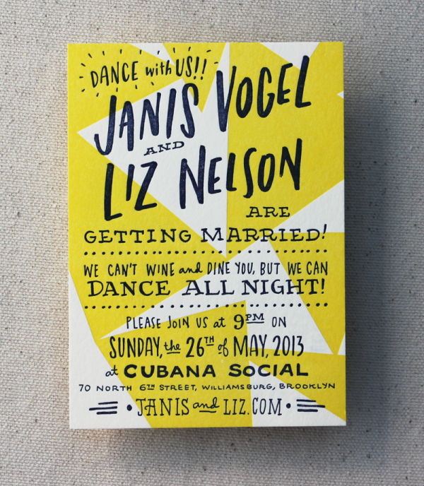 Happy and Gay Letterpress Wedding Invitations