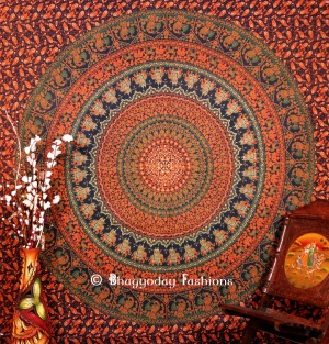 This beautiful green printed circular boho wall designer tapestry is up for sale at reasonable ...